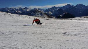 Skiing in a nice ski resort